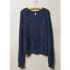 Anthro Moth Bramble Sweater in Teal Blue
